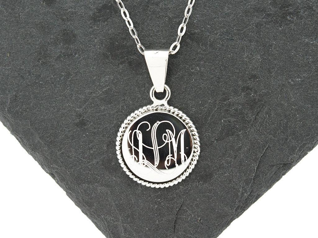 Round Rope Monogram Necklace