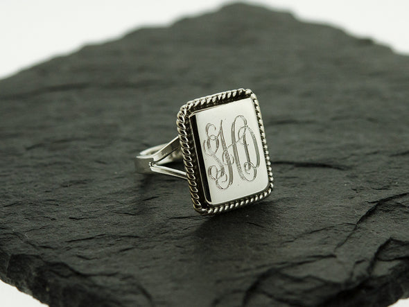 Rectangle Rope Nautical Monogram Ring