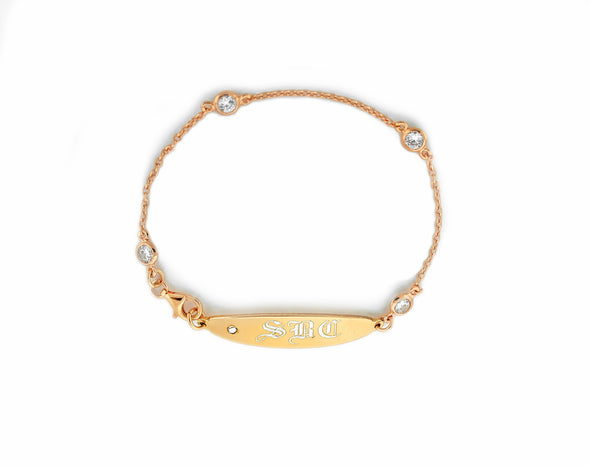 Rose Gold CZ ID Nameplate Bracelet