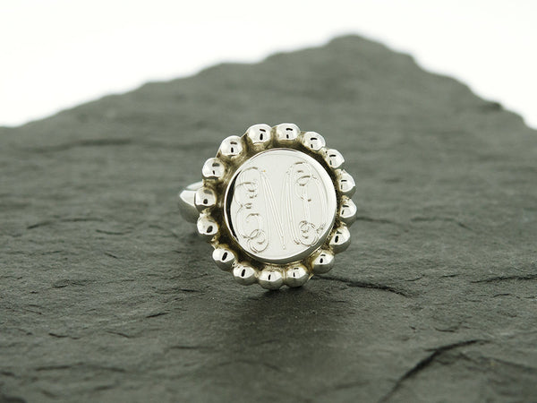 Round Circle Bead Monogram Ring