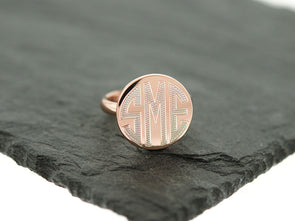 Rose Gold Round Circle Monogram Ring