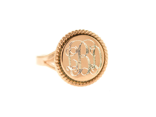 Rose Gold Round Nautical Rope Monogram Ring