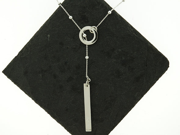 Satellite Lariat Monogram Bar Necklace