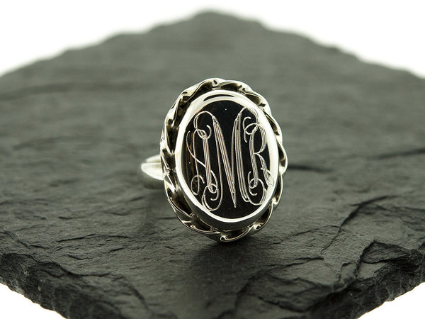 Oval Scalloped Monogram Ring