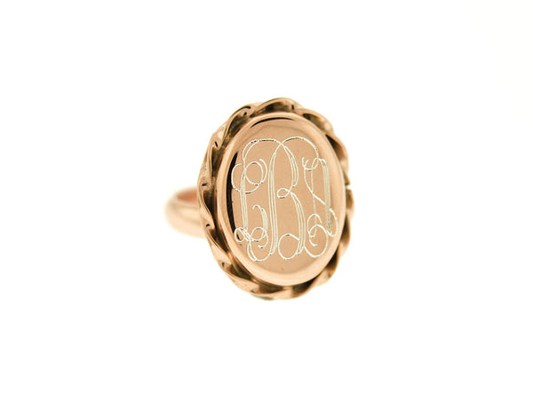 Rose Gold Oval Scalloped Monogram Ring