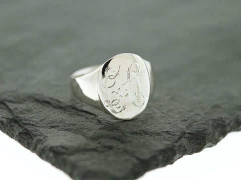 Silver Oval Signet Monogram Ring