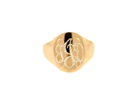 Rose Gold Oval Signet Monogram Ring