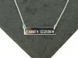 Sterling Knot Coordinates Bar Necklace