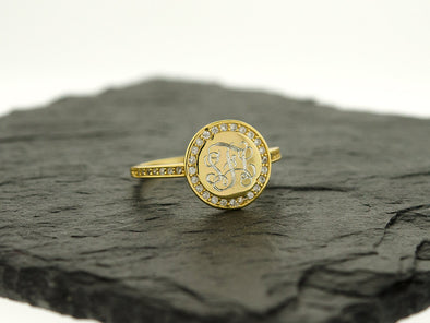 Gold Vermeil CZ Monogram Ring