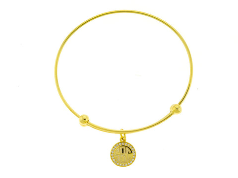 Gold CZ Slide Stretch Charm Bangle Bracelet