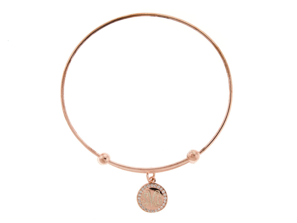 Rose Gold CZ Slide Stretch Charm Bangle Bracelet