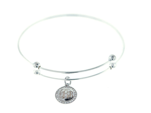 Silver CZ Slide Stretch Charm Bangle Bracelet