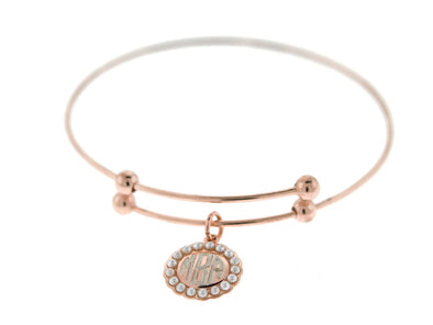 Rose Gold Pearl Slide Stretch Charm Bangle Bracelet