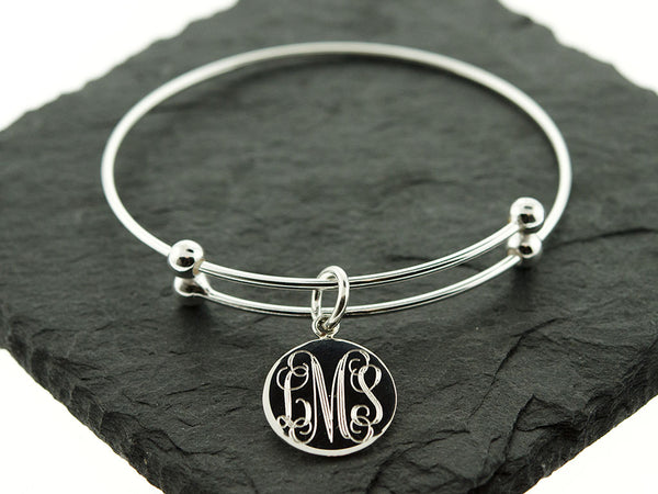 Silver Slide Stretch Charm Bangle Bracelet