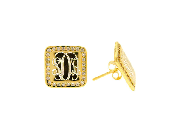 Gold Vermeil Square CZ Monogram Stud Earrings