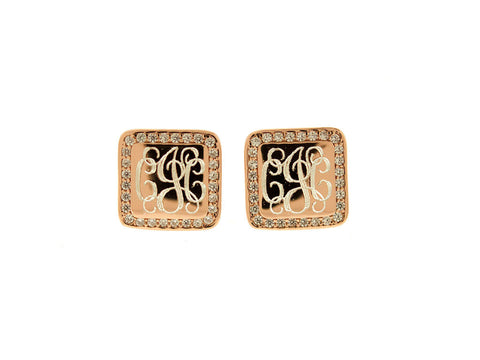 Rose Gold Square CZ Monogram Stud Earrings