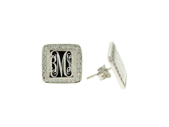 Square CZ Monogram Stud Earrings
