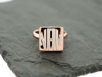 Rose Gold Square Monogram Ring