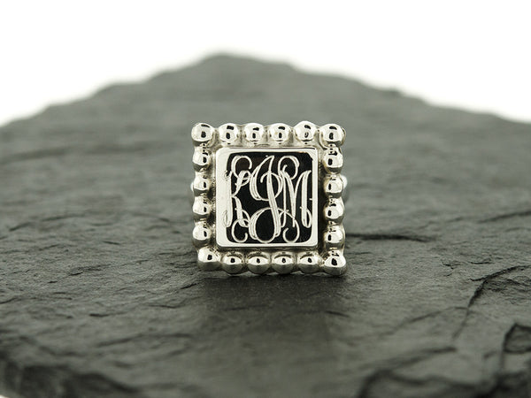 Square Bead Monogram Ring