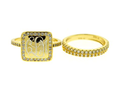 Gold Vermeil Square CZ Stacking Monogram Ring