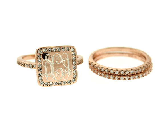 Rose Gold Square CZ Stacking Monogram Ring