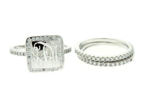 Square CZ Stacking Monogram Ring