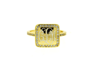 Gold Vermeil Square CZ Monogram Ring