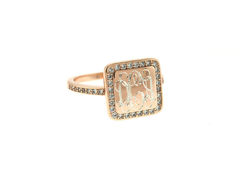 Rose Gold Square CZ Monogram Ring