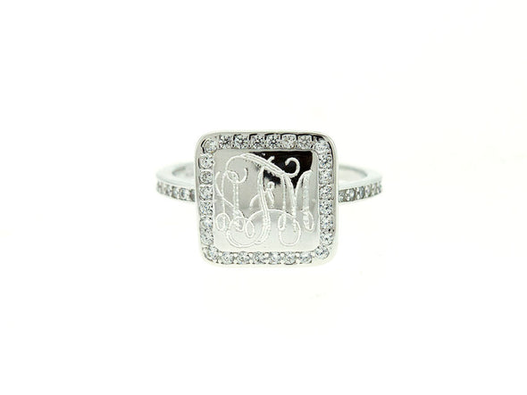 Square CZ Monogram Ring