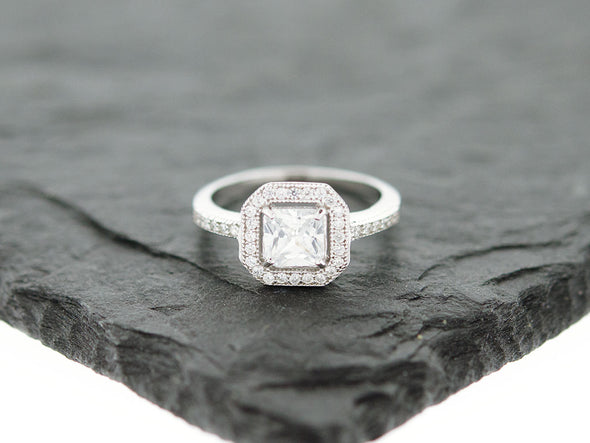 Princess Cut Square Halo Ring