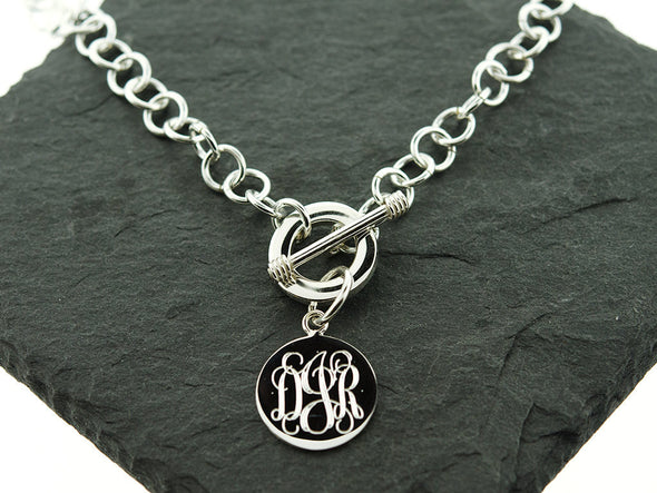 Round Circle Tag Monogram Necklace