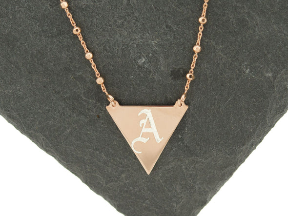 Rose Gold Triangle Satellite Monogram Necklace