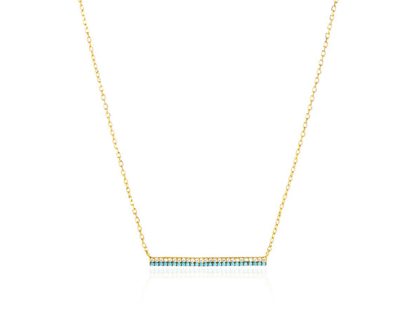 Turquoise and CZ Bar Necklace