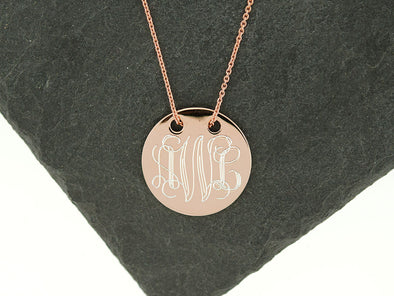 Rose Gold Threaded Disc Monogram Necklace