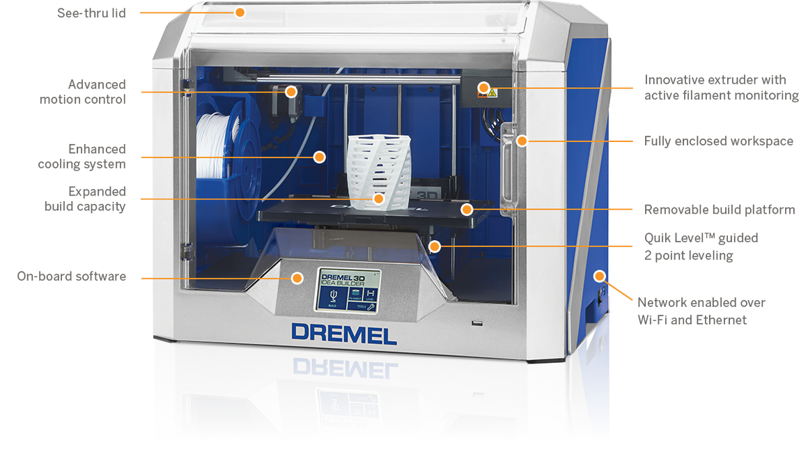 DREMEL 3D40 Idea Builder 3D Printer for Education - Wireless - 3D40-03 EDU