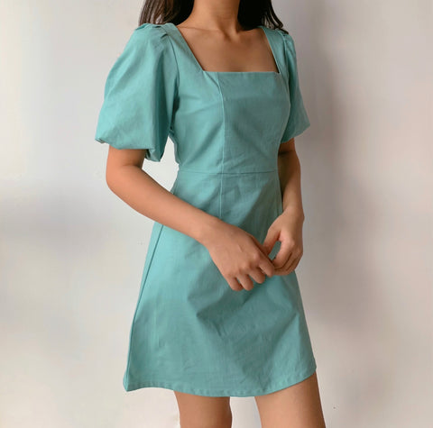 Liza Linen Dress (Light Teal)