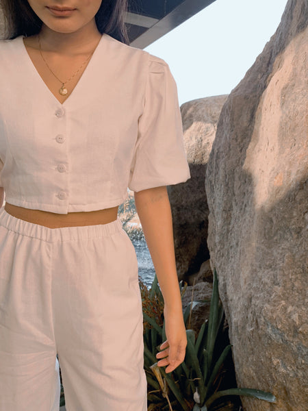 Tulum linen top (WHITE)