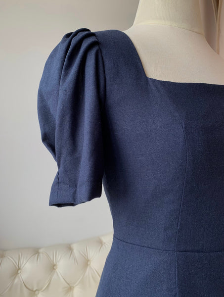 Clara Linen dress (Navy Blue)