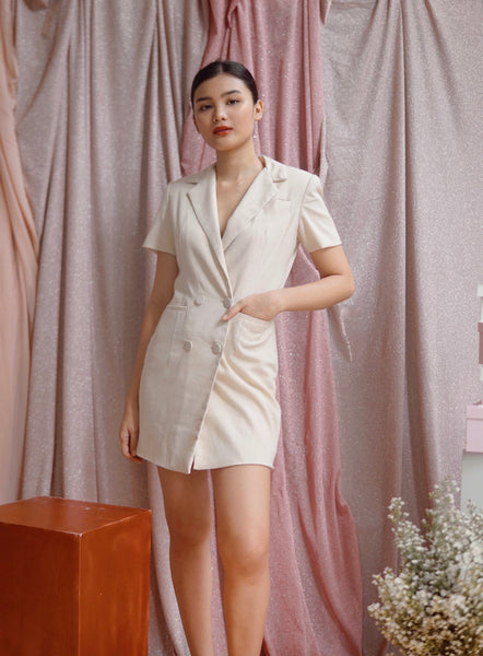 Victoria Blazer dress (Cream)
