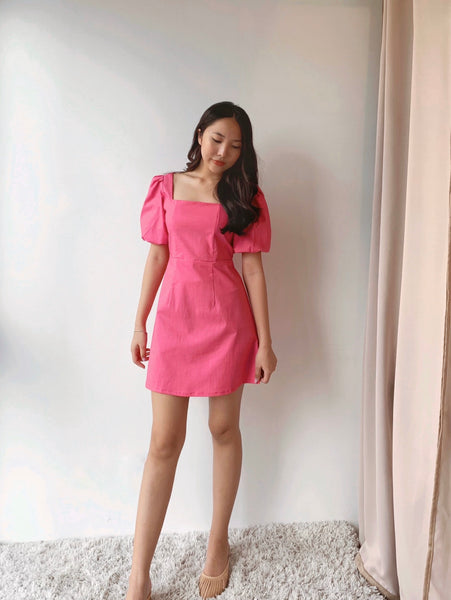 Liza linen dress (Fuchsia Pink)