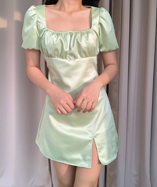 Lily silk dress (AVOCADO)