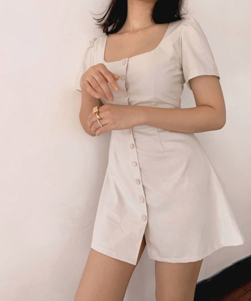 Eunice linen dress (CREAM)