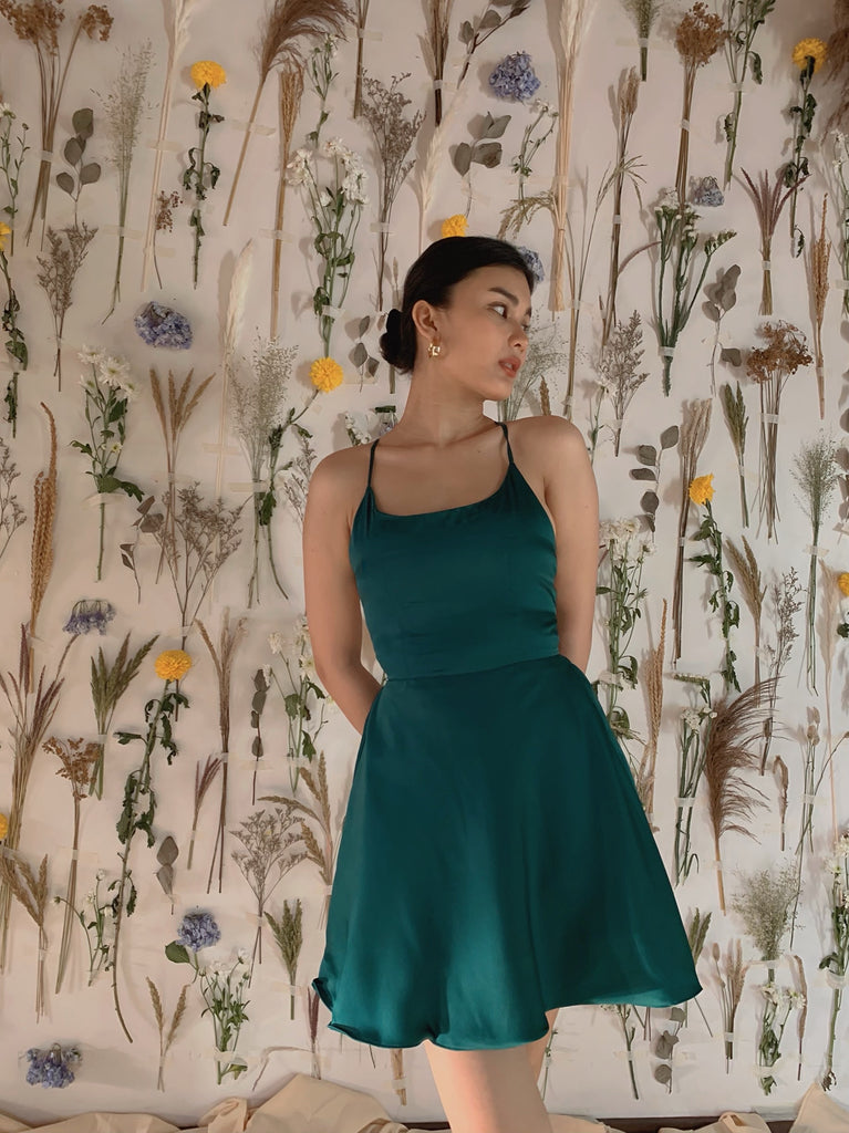 Clementine Silk dress (FOR PRE-ORDER: EMERALD GREEN)
