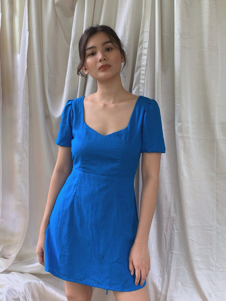 Irene linen dress (AZURE BLUE)