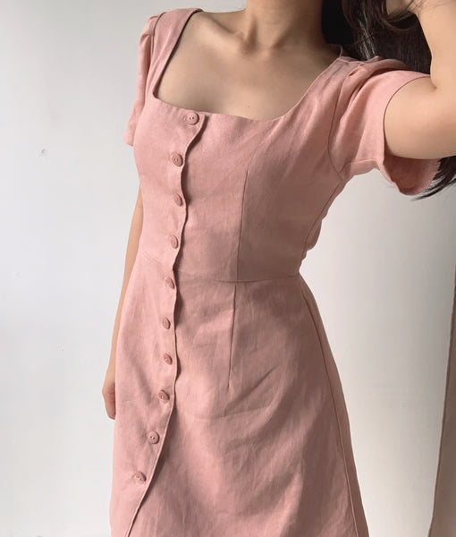 Eunice linen dress (BLUSH PINK)