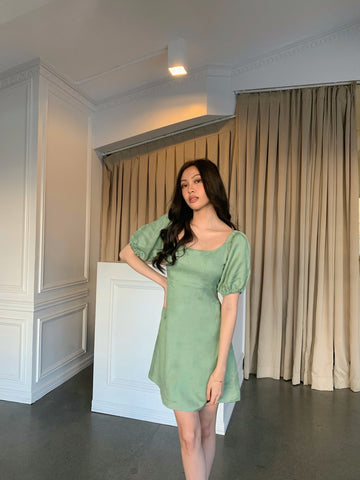 Aurora linen dress (SAGE GREEN)
