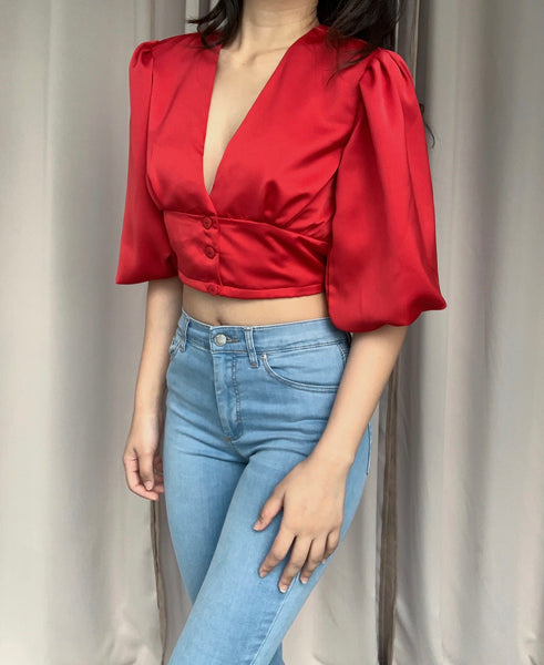 Quinn silk top (RED)