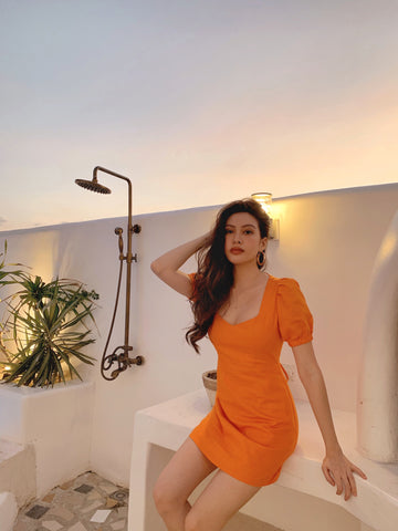 Irene Linen dress (Orange)