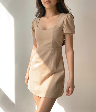 Irene linen dress (Khaki)