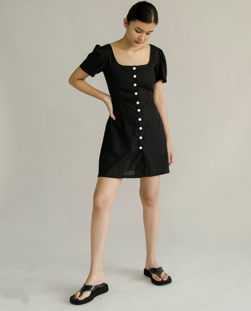 Eunice linen dress (BLACK)